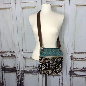 Canvas FOSSIL crossbody purse keys green black bag